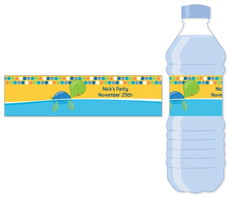 sea turtle boy water bottle label