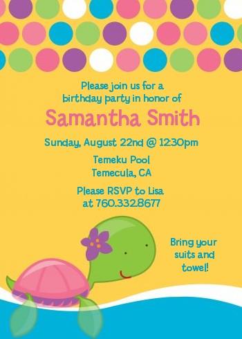 Sea turtle girl birthday party invitations candles and favors sea turtle girl birthday party invitations filmwisefo