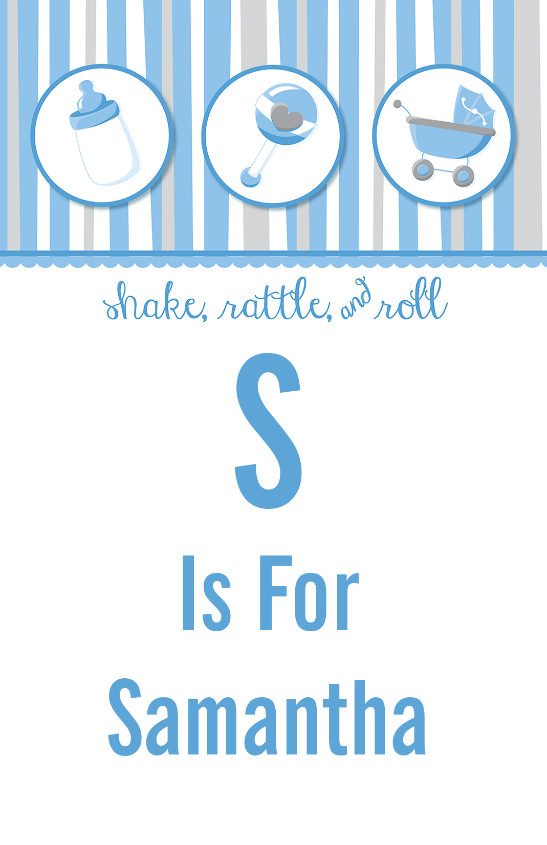 Shake, Rattle & Roll Blue - Personalized Baby Shower Nursery Wall Art thumbnail