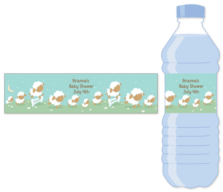 Sheep Personalized Baby Shower Water Bottle Labels