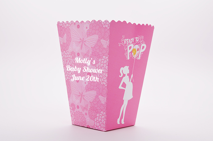 Ready To Pop Pink Personalized Baby Shower Popcorn Boxes
