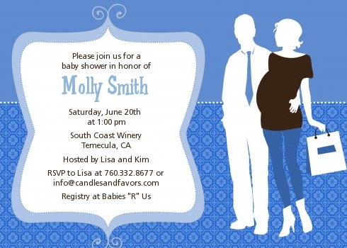 Silhouette Couple It S A Boy Baby Shower Invitations Dark Blue