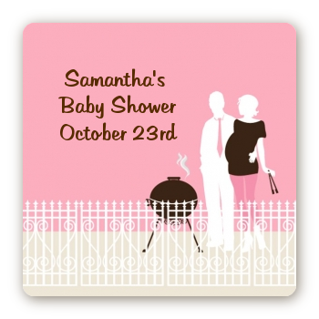 Silhouette Couple BBQ Girl - Square Personalized Baby Shower Sticker Labels