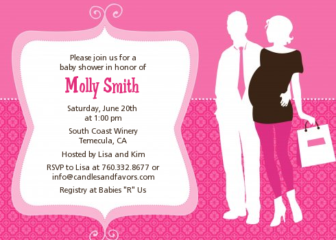 Silhouette Couple | It's a Girl - Baby Shower Invitations Light Pink