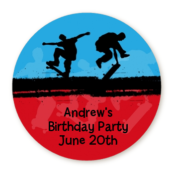 Skateboard - Round Personalized Birthday Party Sticker Labels