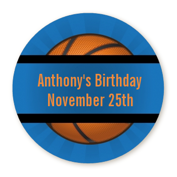 Slam Dunk - Round Personalized Birthday Party Sticker Labels