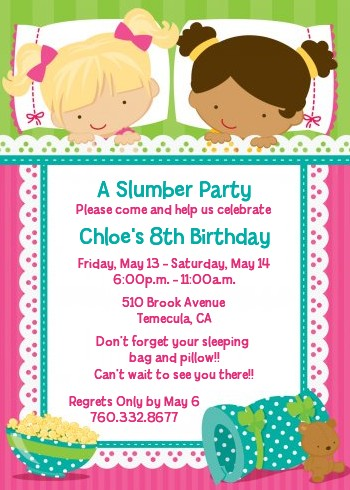 Slumber Party with Friends Birthday Party Invitations Candles and