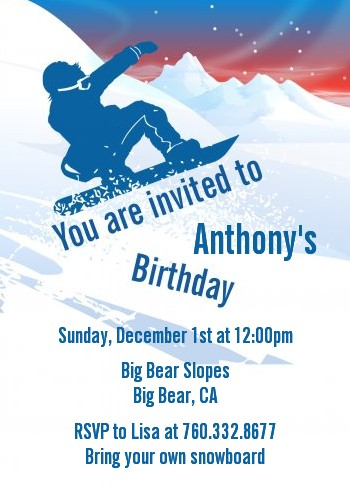 Snowboard birthday party invitations candles and favors snowboard birthday party invitations filmwisefo Image collections