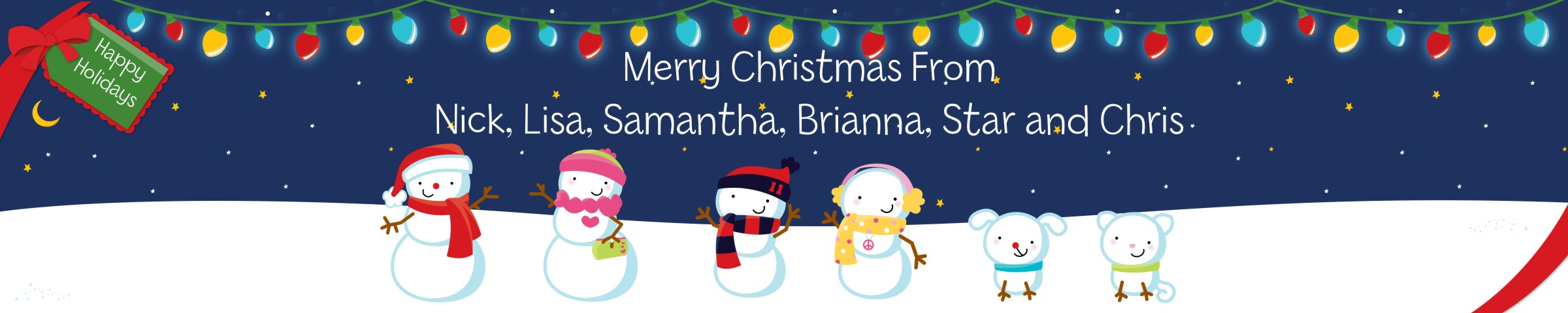Christmas Banners.Snowman Family With Lights Personalized Christmas Banners