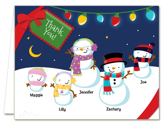 Christmas Thank You Cards | Snowman Family With Lights Thank You Notes