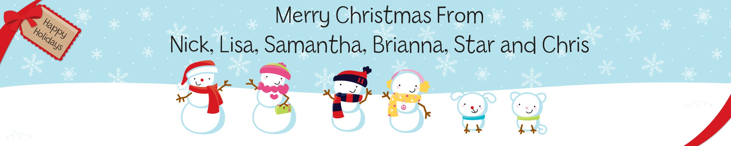 Snowman Family with Snowflakes - Personalized Christmas Banners