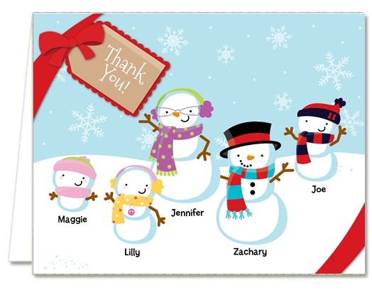 Christmas Thank You Cards | Snowman Family With Snowflakes Thank