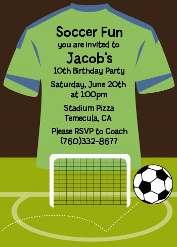 Soccer jersey green and blue birthday party invitations candles soccer jersey green and blue birthday party invitations filmwisefo Image collections
