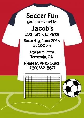 soccer jersey white red and black birthday party invitations