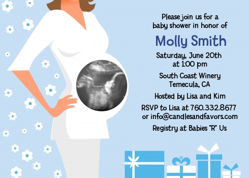 sonogram it s a boy baby shower invitations candles and favors