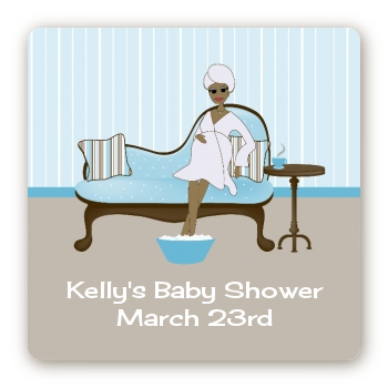 Spa Mom Blue African American - Square Personalized Baby Shower Sticker Labels
