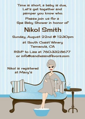 Spa Mom Blue - Baby Shower Invitations