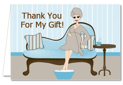 Spa Mom Blue - Baby Shower Thank You Cards