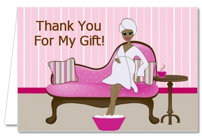 spa mom pink african american baby shower thank you cards