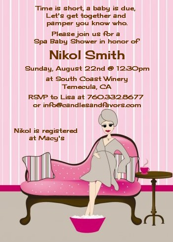 Spa Mom Pink Baby Shower Invitations Candles And Favors