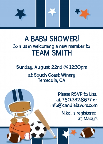 Sports Baby African American Baby Shower Invitations | Candles and Favors