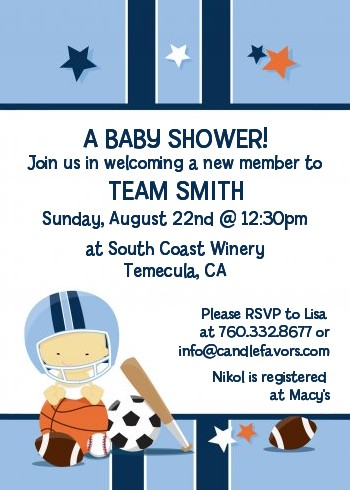 sports baby asian baby shower invitations  candles and favors, Baby shower