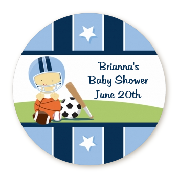 Sports Baby Asian - Round Personalized Baby Shower Sticker Labels