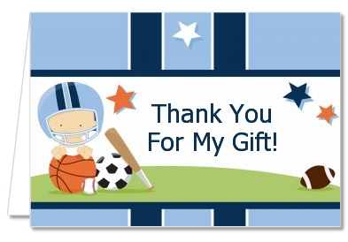 Sports Baby Caucasian   Baby Shower Thank You Cards