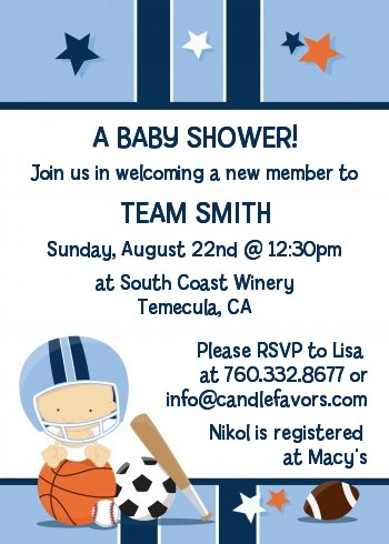 sports baby caucasian baby shower invitations candles and favors