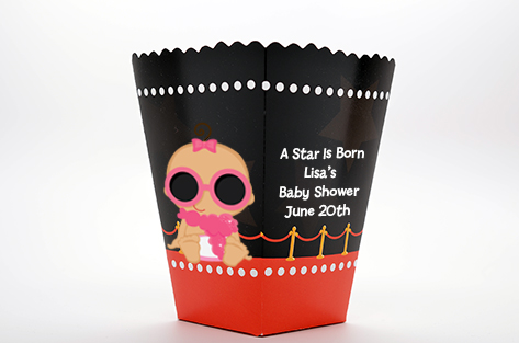 A Star Is Born Hollywood - Personalized Baby Shower Popcorn Boxes Caucasian Girl