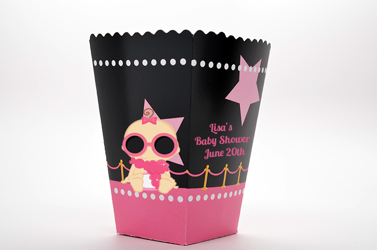 A Star Is Born Hollywood Black|Pink - Personalized Baby Shower Popcorn Boxes Indian Girl