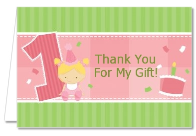 1st Birthday Girl - Birthday Party Thank You Cards