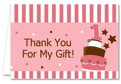 1st Birthday Topsy Turvy Pink Cake - Birthday Party Thank You Cards