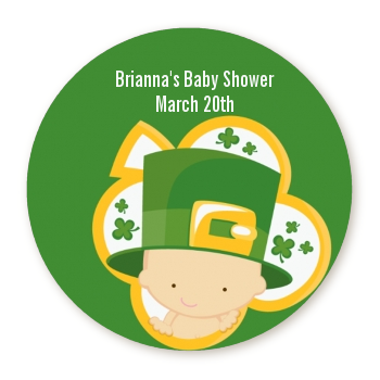 St. Patrick's Baby Shamrock - Round Personalized Baby Shower Sticker Labels