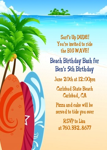 Surf's Up Birthday Party Invitations | Candles and Favors
