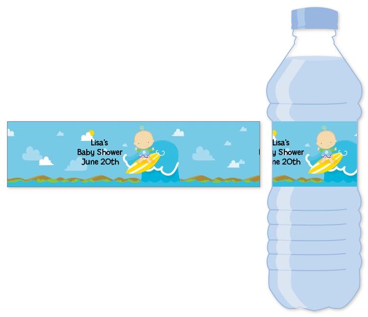 surf boy baby shower water bottle labels