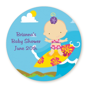 Surf Girl - Round Personalized Baby Shower Sticker Labels