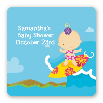 Surf Girl - Square Personalized Baby Shower Sticker Labels