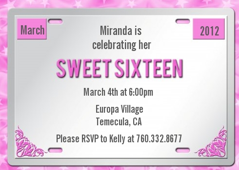 Sweet 16 license plate birthday party invitations candles and favors sweet 16 license plate birthday party invitations solutioingenieria Image collections