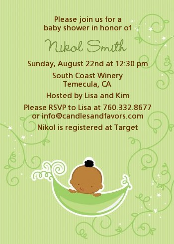 Sweet Pea African American Boy - Baby Shower Invitations