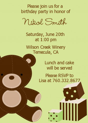 Teddy bear birthday party invitations candles and favors teddy bear birthday party invitations green filmwisefo