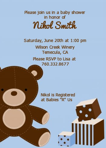 Teddy Bear Blue Baby Shower Invitations Candles and Favors
