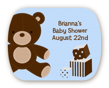 Teddy Bear Blue - Personalized Baby Shower Rounded Corner Stickers
