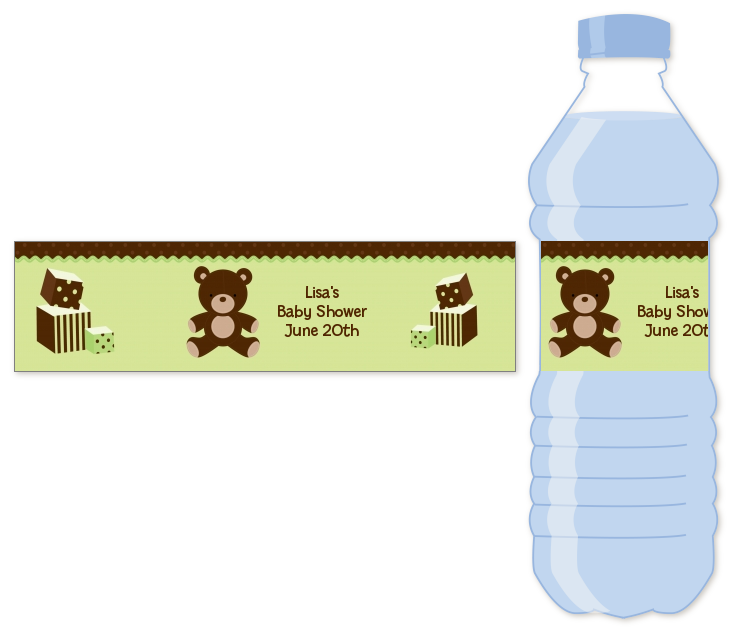Teddy Bear Neutral Water Bottle Label Baby Shower Water