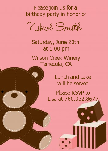 Teddy Bear Birthday Party Invitations Candles And Favors
