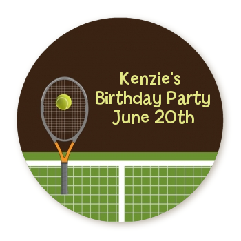Tennis - Round Personalized Birthday Party Sticker Labels