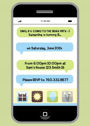 Social Media Texting Birthday Party Invitations