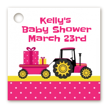 Tractor Truck Pink - Personalized Baby Shower Card Stock Favor Tags