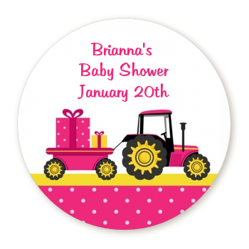 Tractor Truck Pink - Round Personalized Baby Shower Sticker Labels