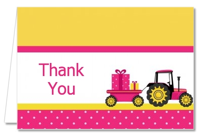 Tractor Truck Pink - Baby Shower Thank You Cards